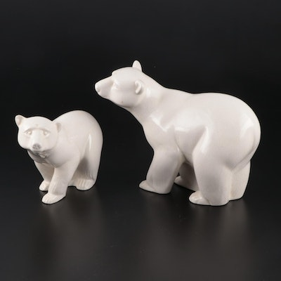 Portuguese Pereiras Ceramic Polar Bear Figurines