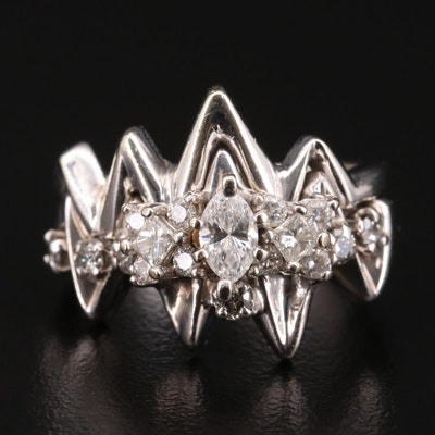 14K White Gold Diamond Ring with Matching Band