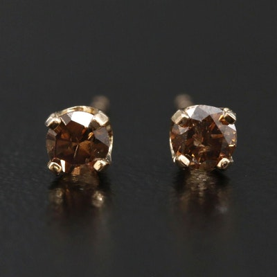 14K Gold 0.24 CTW Diamond Solitaire Stud Earrings