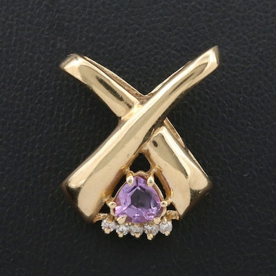 14K Gold Amethyst and Diamond Slide Pendant