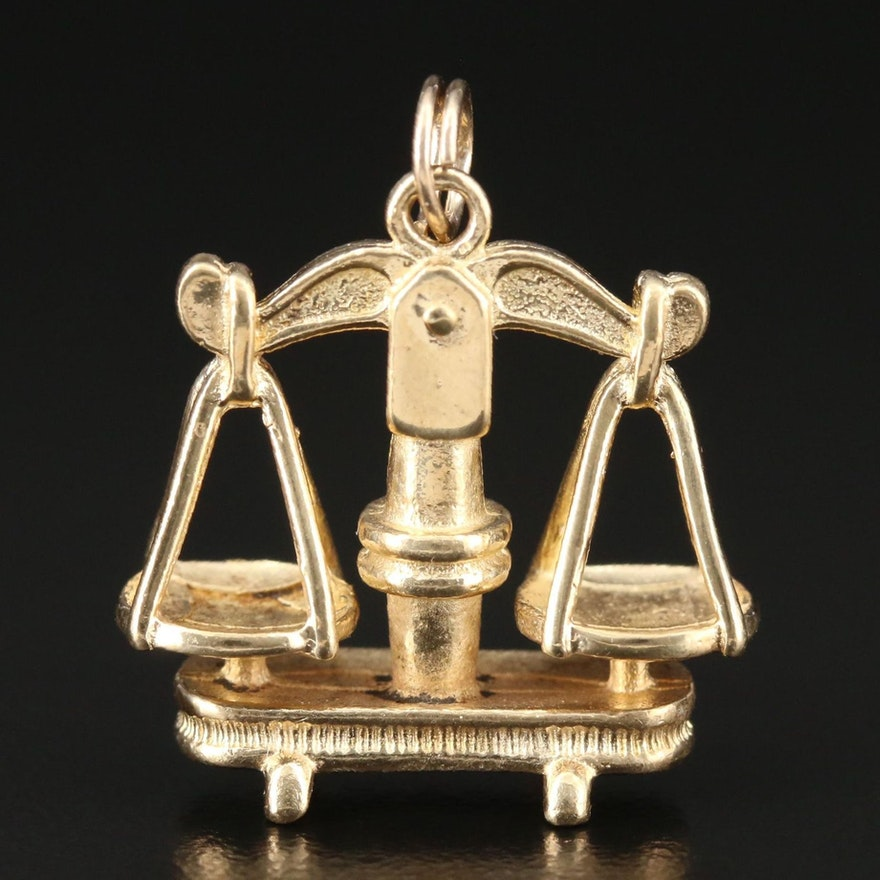 18K Gold Scales of Justice Pendant