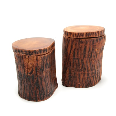 Handcrafted Wooden Log Containers