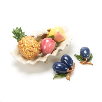 Hand-Painted Ceramic Fruit with Italian Ceramic Shell Dish