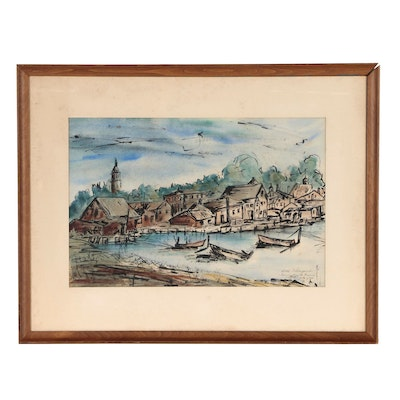 Ink and Watercolor Painting of Harbor Scene, 1962