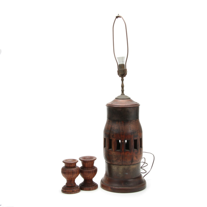 Wagon Wheel Hub Converted Table Lamp and Carved Wooden Harlequin Candle Cups