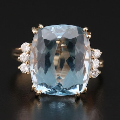 14K Gold 9.00 CT Topaz and Diamond Ring