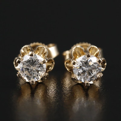 14K Gold 0.69 CTW Diamond Solitaire Buttercup Earrings