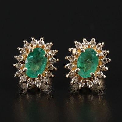 14K Gold Emerald and Diamond Halo Earrings