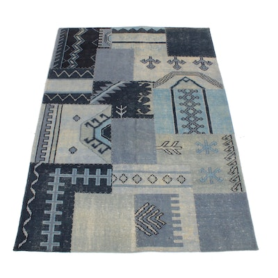 5'2 x 7'3 Hand-Knotted Turkish Patchwork Rug