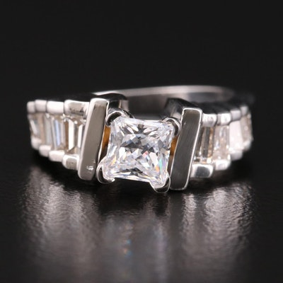 14K Gold Diamond Semi-Mount Ring with Cubic Zirconia Center