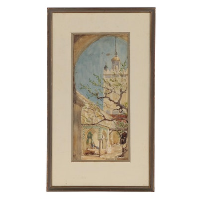 Middle Eastern Street Scene Watercolor Painting, Late 19th to Early 20th Century