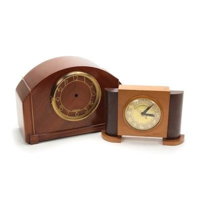 Seth Thomas Art Deco Mahogany Clock Case and United Art Deco Clock