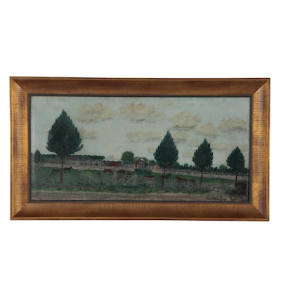 American Folk Oil Painting of Rural Landscape, circa 1890