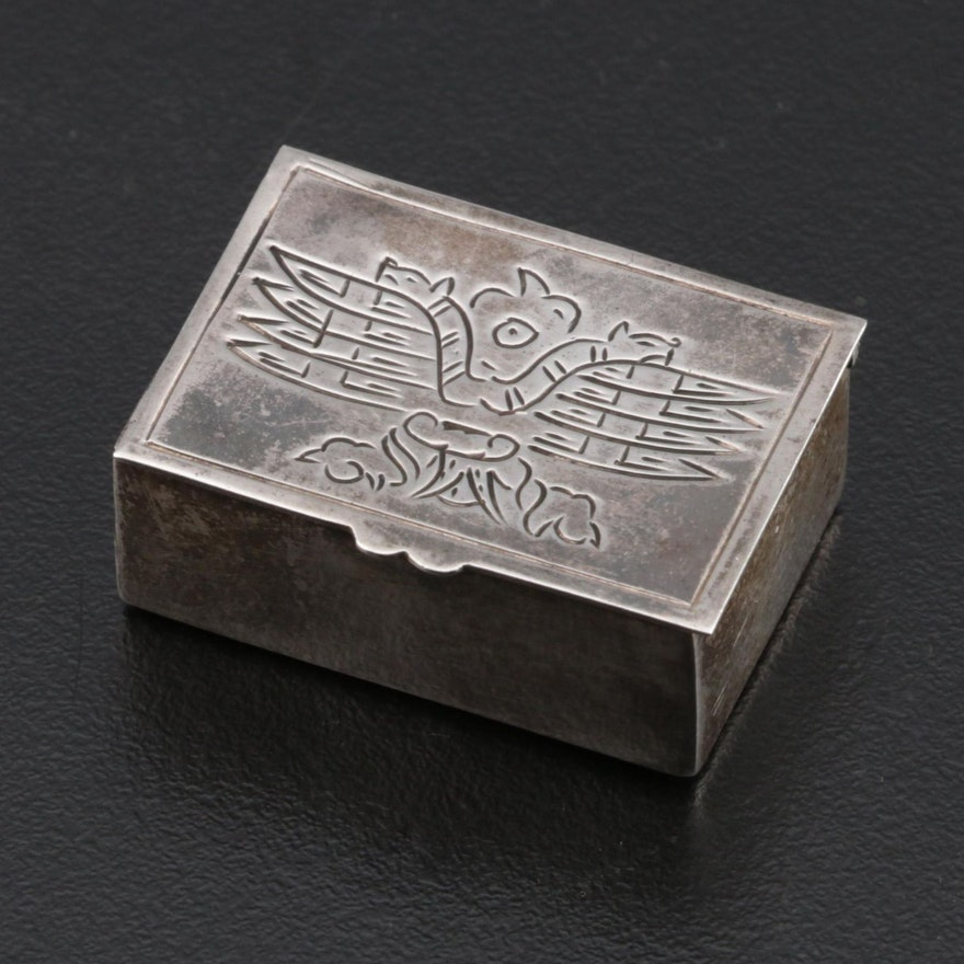 Chased Peruvian Sterling Silver Pill Box, Early to Mid 20th Century