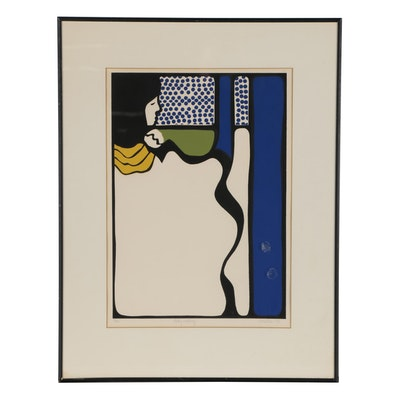 "Towbin Woodblock ""Lady Waiting"", 1973"