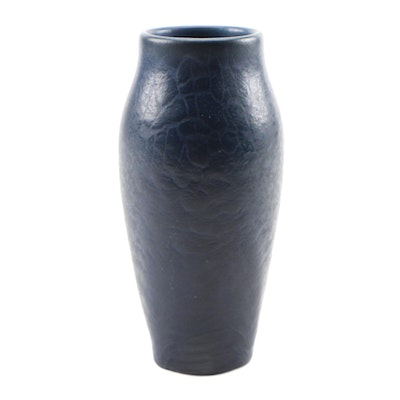 Rookwood Pottery Dark Blue Glaze Earthenware Vase, 1906