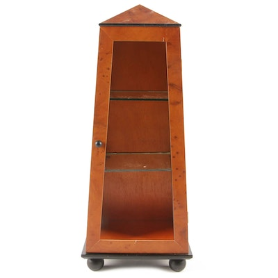 Biedermeier Style Parcel-Ebonized Burlwood Obelisk-Form Display Cabinet