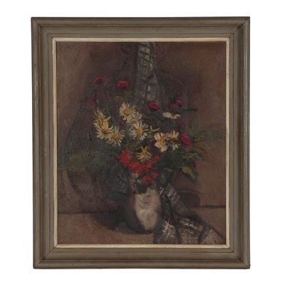 Japanese Floral Still Life Oil Painting, Late 19th to Early 20th Century