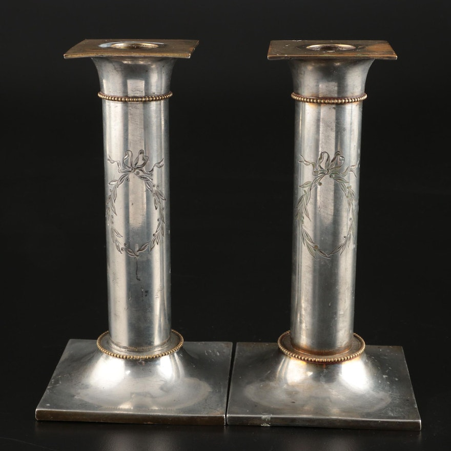 Pairpoint Mfg. Co. Brass and Silver Plate Candlesticks