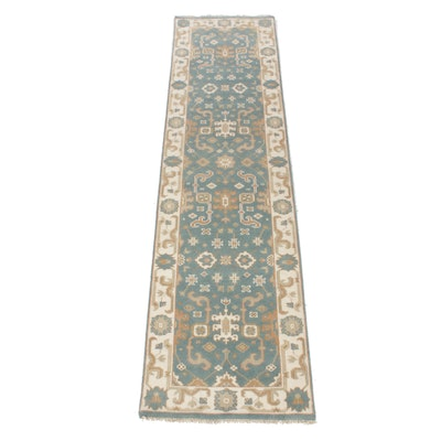 2'7 x 9'11 Hand-Knotted Indo-Turkish Oushak Runner