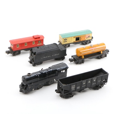 Lionel Metal and Tin Train Cars Including Shell Oil, Mid-20th Century