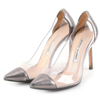 Manolo Blahnik Pacha Metallic Leather and Clear PVC High Heel Pumps