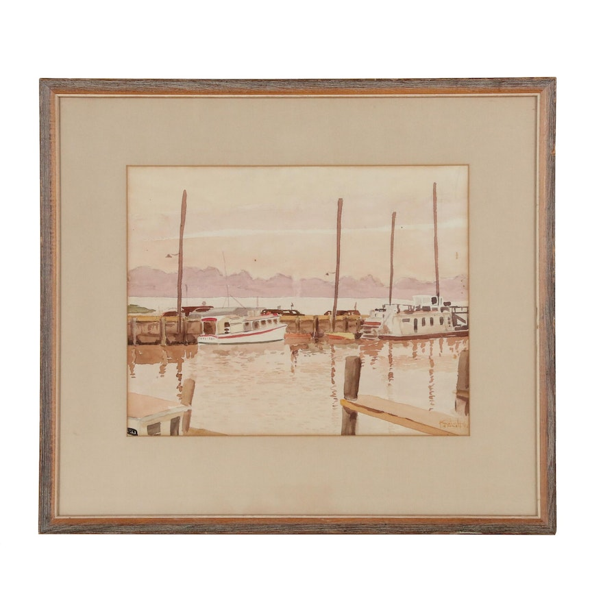 Maritime Watercolor Painting of Harbor Scene, Mid 20th Century