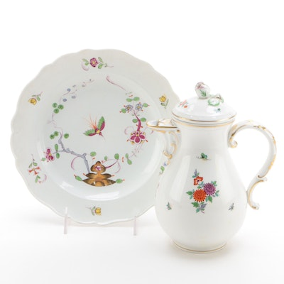 Meissen Marcolini Period Plate with a Meissen Chocolate Pot