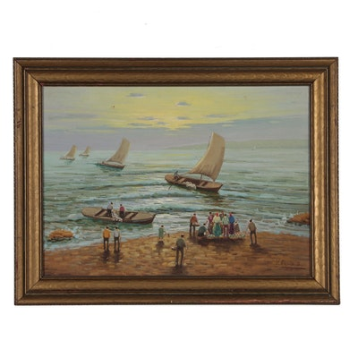 V. Esposito Oil Painting of Coastal Scene with Sailboats