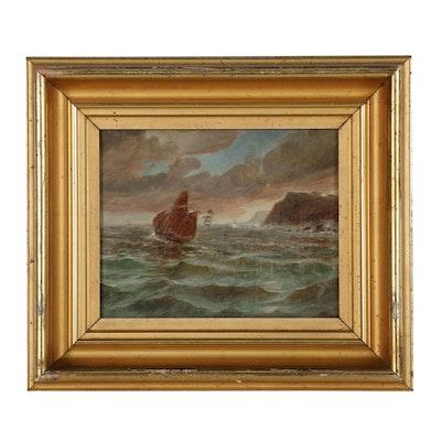 August F. Lundberg Maritime Oil Painting