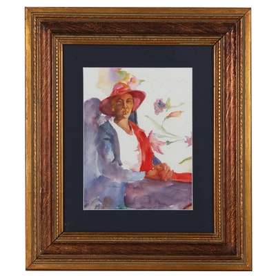 "Margaret Carter Hindle Watercolor Painting ""Lady in Red Scarf"""