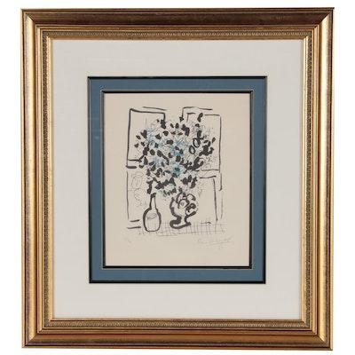 """Marc Chagall Lithograph """"Le Bouquet Noir et Bleu"""", 1957"""