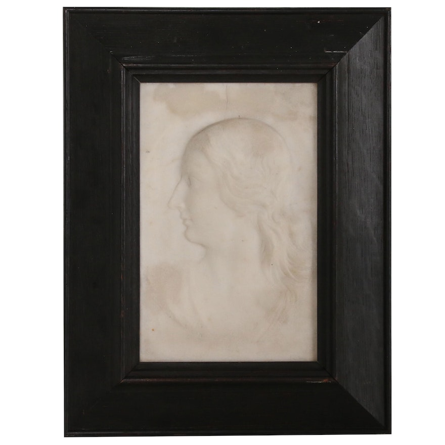 Carved Alabaster Relief Portrait of Woman in Profile