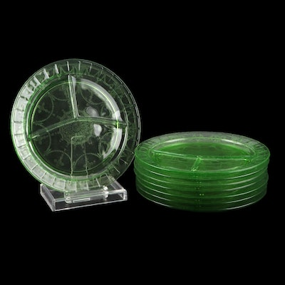 Hocking Green Depression Glass Divided Grill Plates, Early 20th Century