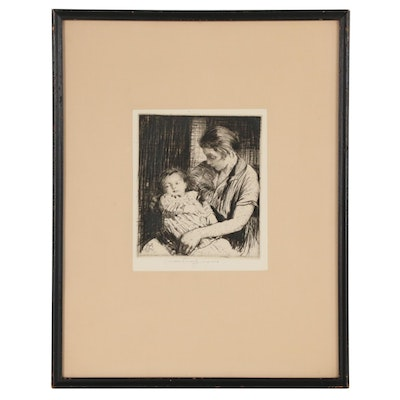 William Lee-Hankey Drypoint Etching of Mother and Child