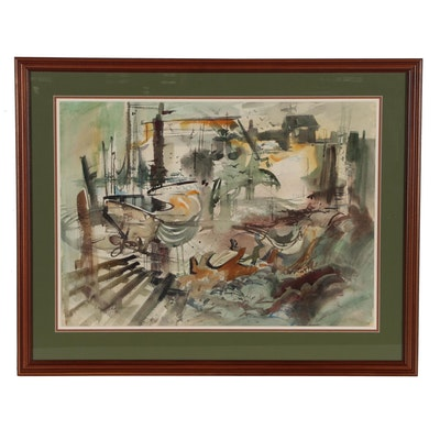 """Sanford Brooks Expressionist Watercolor Painting """"Scenes of Maine"""""""