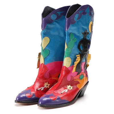 Zalo Cowboy Motif Multicolored Leather Western Style Boots