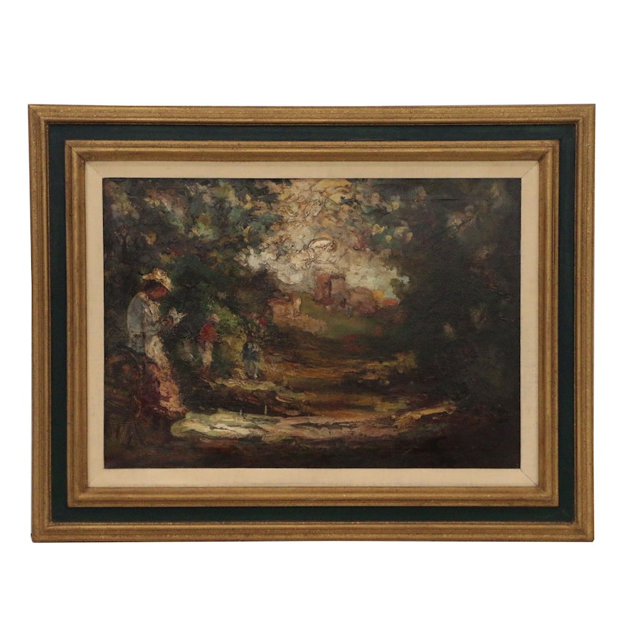 A. Galano Impressionist Style Painting of Figures in Landscape
