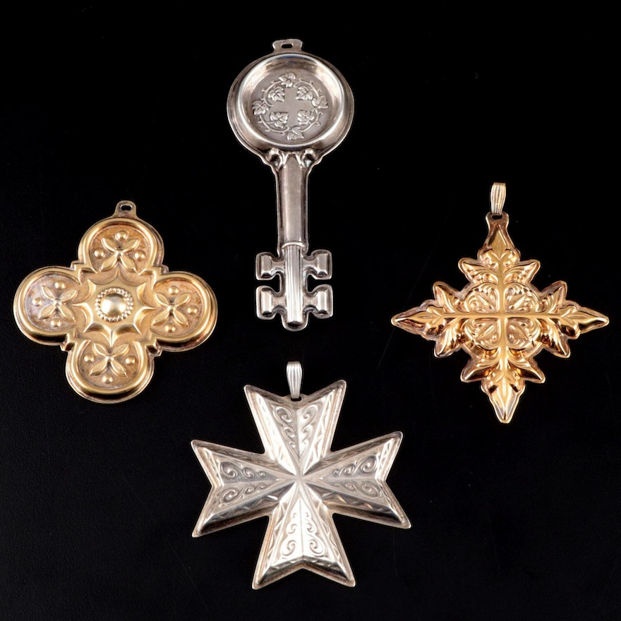 "Reed & Barton ""Christmas Cross"" Sterling Ornaments and Wine Taster's Key"