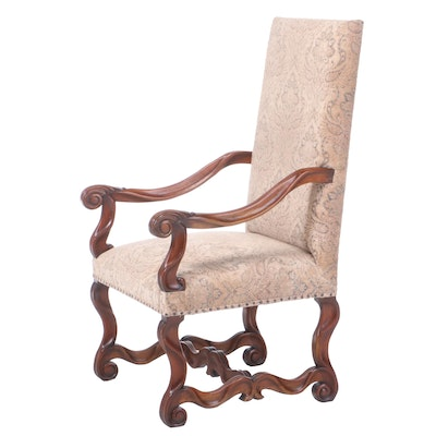 Louis XIII Style Carved Walnut Fauteuil