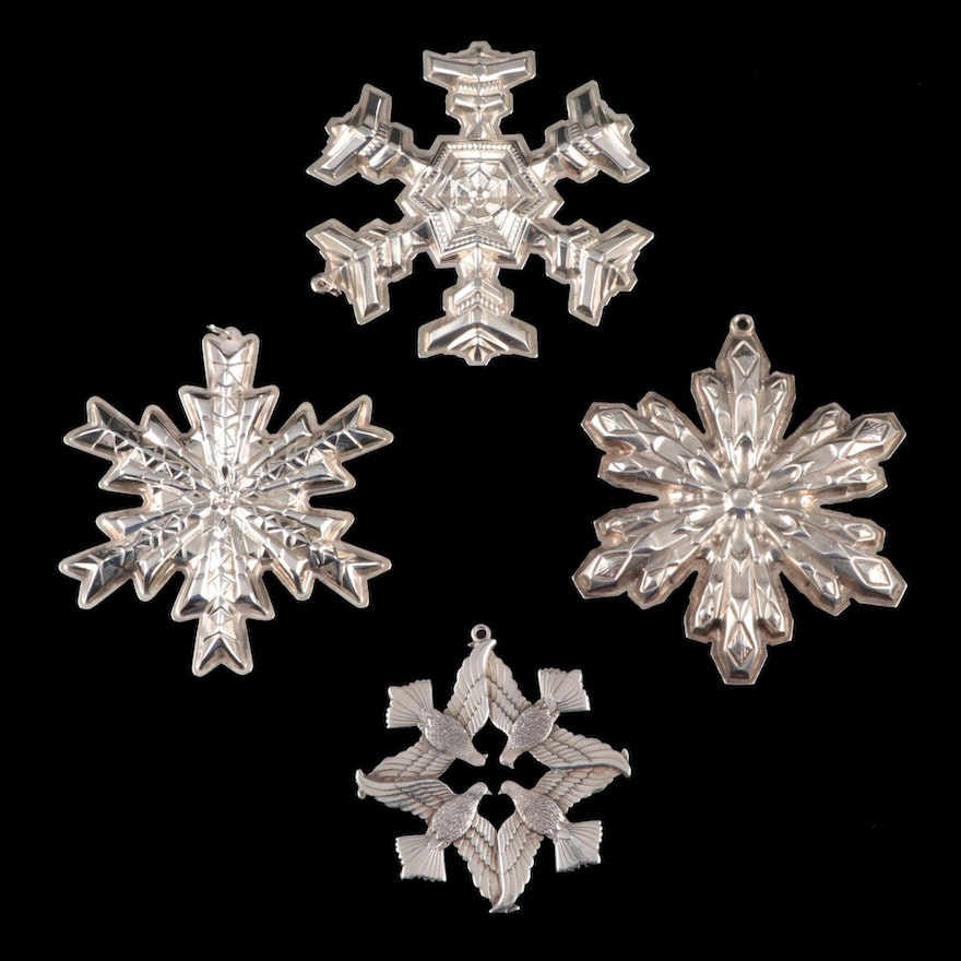 Gorham and Wallace Sterling Silver Snowflake Ornaments, 1970s