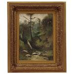 Hudson River School Style Forest Landscape Painting