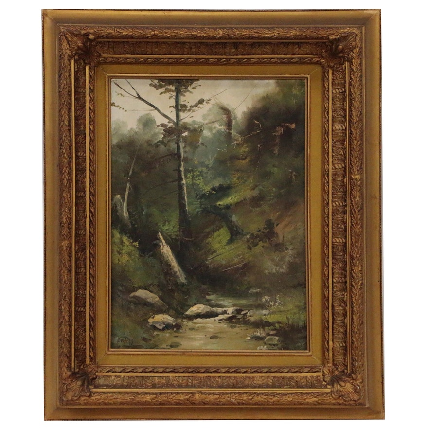 Hudson River School Style Forest Landscape Painting