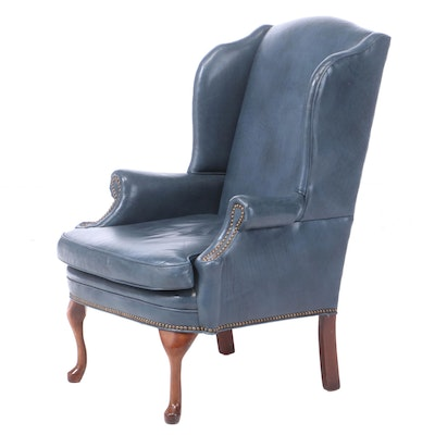 Queen Anne Style Faux-Leather Wingback Armchair