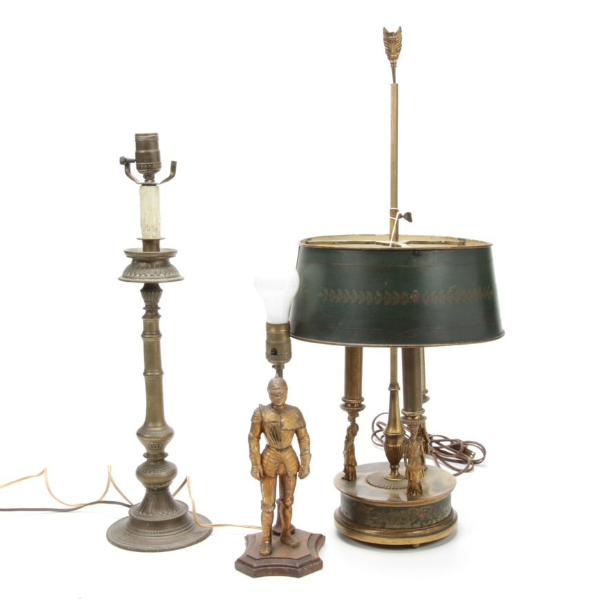 French Empire Style Bouillotte, Figural Knight and Candlestick Table Lamps
