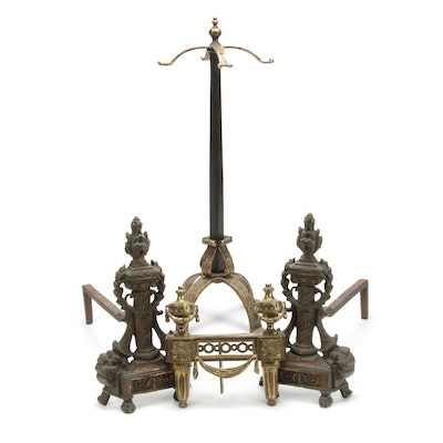 Neoclassical Style Andirons with Chenet and Fireplace Tool Stand