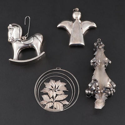 Mexican and American Sterling Silver Ornaments Including Lunt