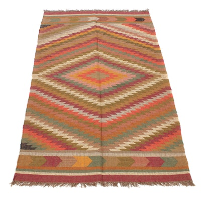 5'0 x 8'1 Handwoven Turkish Kilim Wool Rug