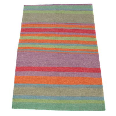 4'2 x 6'2 Handwoven Turkish Kilim Wool Rug
