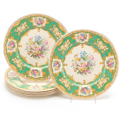 Myott of Staffordshire Ceramic Dinner Plates with P. Granet Floral Motif